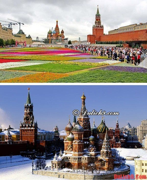 Thời điểm thích hợp và tuyệt vời nhất để du lịch Moscow, Nga thuận lợi và vui vẻ