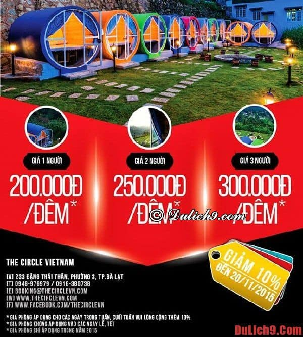 Giá phòng nghỉ của khách sạn ống tròn độc đáo, mới lạ, chất lượng, gần trung tâm nổi tiếng ở Đà Lạt