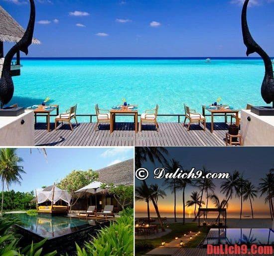 Resort hướng ra đảo và có hồ bơi ở Maldives