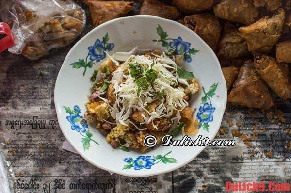 Nộm samosa - Món ngon độc đáo của đường phố Yangon nên nếm thử khi du lịch Myanmar