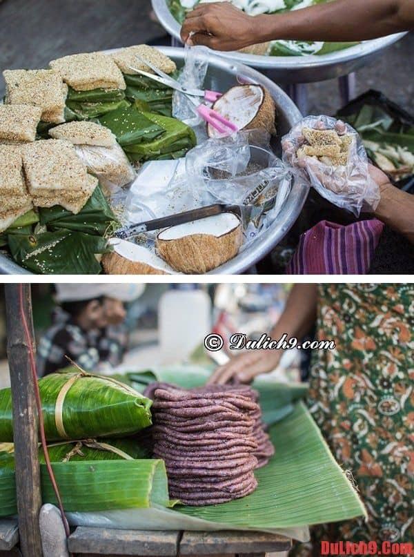 Bánh nếp Koh pieh và Koh puo - Những món bánh đặc trưng của ẩm thực đường phố Yangon