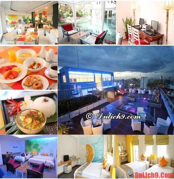 Khách sạn 4 sao cao cấp độc đáo, đẹp, tốt, gần trung tâm Phnom Penh nên ở