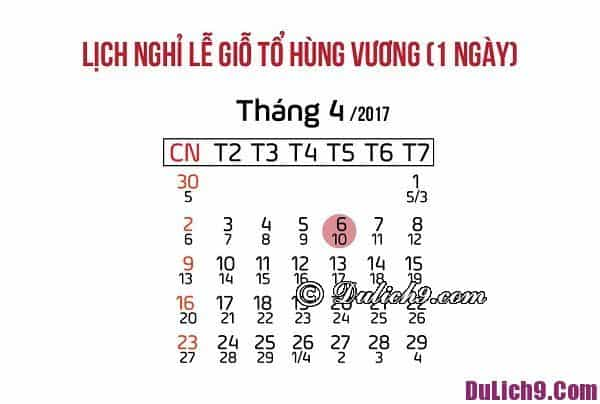 Lịch nghỉ lễ giỗ tổ Hùng Vương 10-3