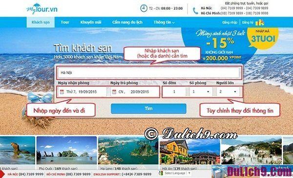 Các bước đặt phòng khách sạn qua website Mytour.vn