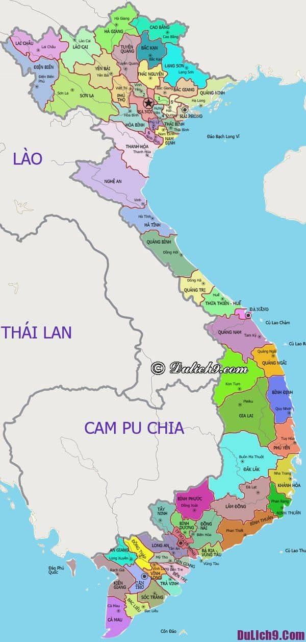 Bản đồ du lịch các tỉnh thành Việt Nam