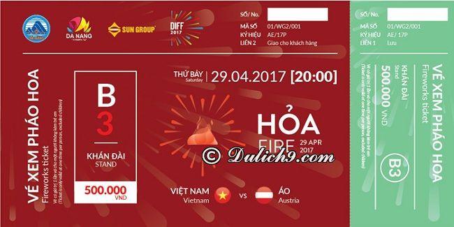 Địa điểm bắn và giá vé xem pháo hoa Đà Nẵng 2017