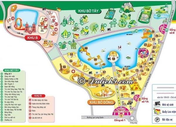 Chơi gì khi tới công viên văn hóa Đầm Sen là hấp dẫn? Bản đồ các trò chơi, khu tham quan ở công viên văn hóa Đầm Sen, TP Hồ Chí Minh
