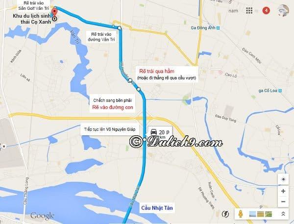 Hướng dẫn đường đi tới khu sinh thái Cọ Xanh, Đông Anh qua cầu Nhật Tân