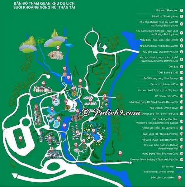 Giá vé vào cổng Núi Thần Tài bao nhiêu? Bản đồ các địa điểm tham quan, vui chơi ở suối khoáng nóng Núi Thần Tài