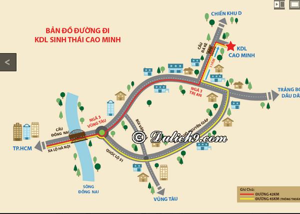 Cách di chuyển tới khu du lịch Cao Minh/ Đường đi tới khu sinh thái Cao Minh