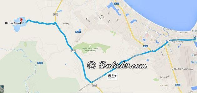 Đường đi phượt hồ Hòa Trung/ phương tiện tới hồ Hòa Trung: Khoảng cách và đường đi tới hồ Hòa Trung, Đà Nẵng