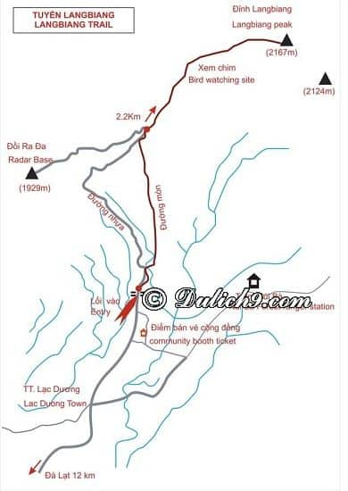 Kinh nghiệm chinh phục núi Langbiang: Bản đồ đường đi du lịch núi Langbiang