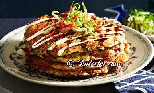 Món bánh xèo Okonomiyaki/ món ăn truyền thống ở Osaka: Osaka có đặc sản gì ngon, hấp dẫn?