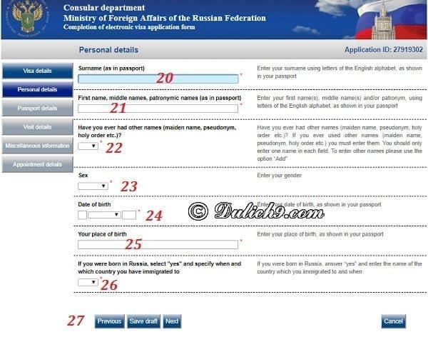 Cách khai đơn xin visa điện tử đi Russia: Hướng dẫn điền tờ khai xin visa đi Nga chi tiết