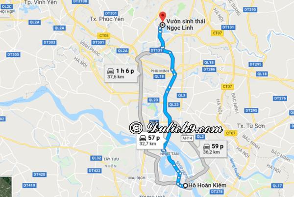 Cách di chuyển tới khu sinh thái Ngọc Linh. Hướng dẫn đường đi khi du lịch sinh thái Ngọc Linh Sóc Sơn