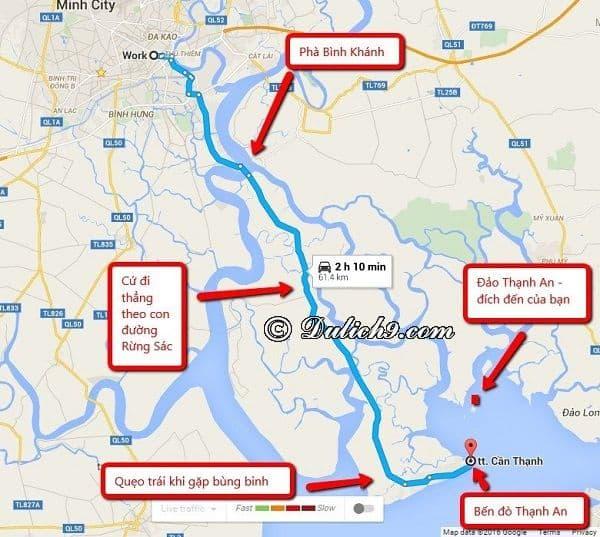 Đường đi tới đảo Thạnh An/ Cách di chuyển tới đảo Thạnh An