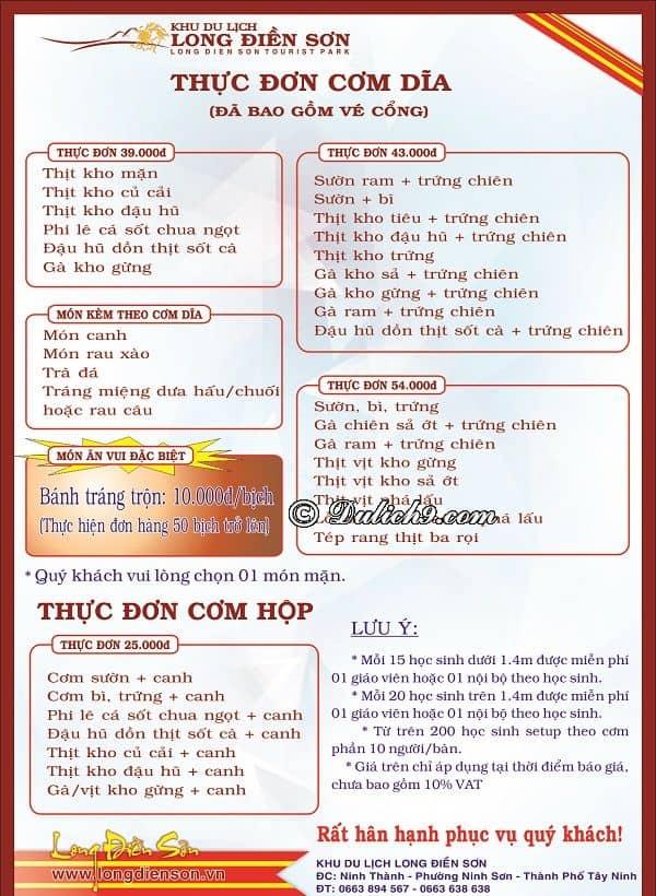 Bảng giá thực đơn của khu du lịch Long Điền Sơn. Kinh nghiệm ăn uống ở khu du lịch Long Điền Sơn