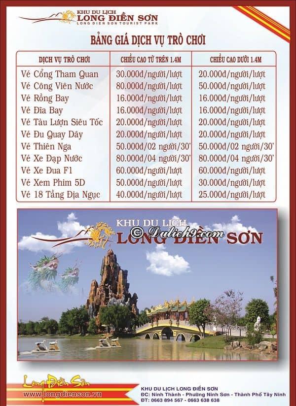 Bảng giá vé vào cổng khu du lịch Long Điền Sơn: Kinh nghiệm đi chơi khu du lịch Long Điền Sơn Tây Ninh