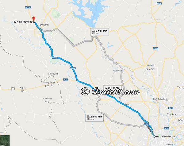 Hướng dẫn đường đi du lịch Tây Ninh từ Sài Gòn (TP Hồ Chí Minh). Đi từ Sài Gòn đến Tây Ninh như thế nào?