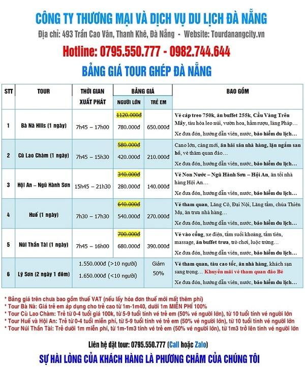 Bảng giá tour du lịch Đà Nẵng giá rẻ nhất