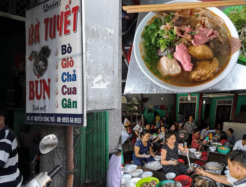 Các quán ăn ngon rẻ ở Huế. Địa điểm ăn uống ở Huế. Quán bà Tuyết