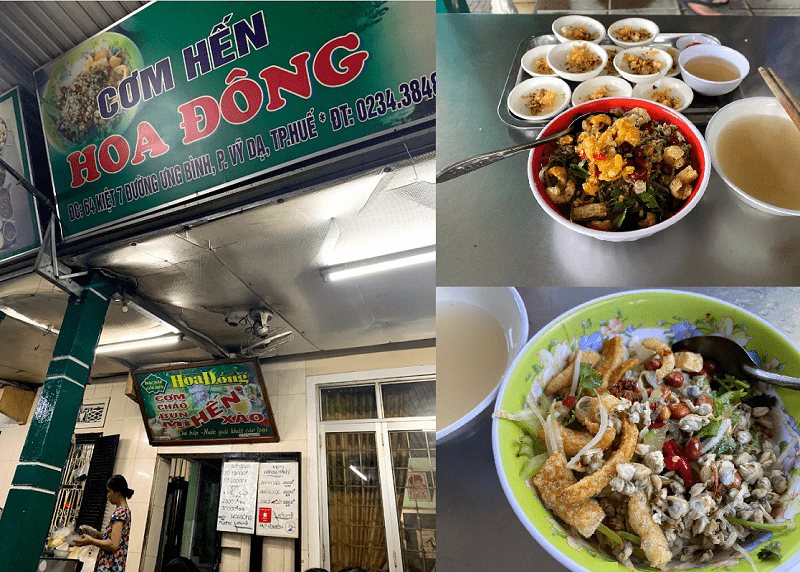 Huế có quán ăn nào ngon, bổ, rẻ? Địa điểm ăn uống ở Huế. Cơm hến Hoa Đông