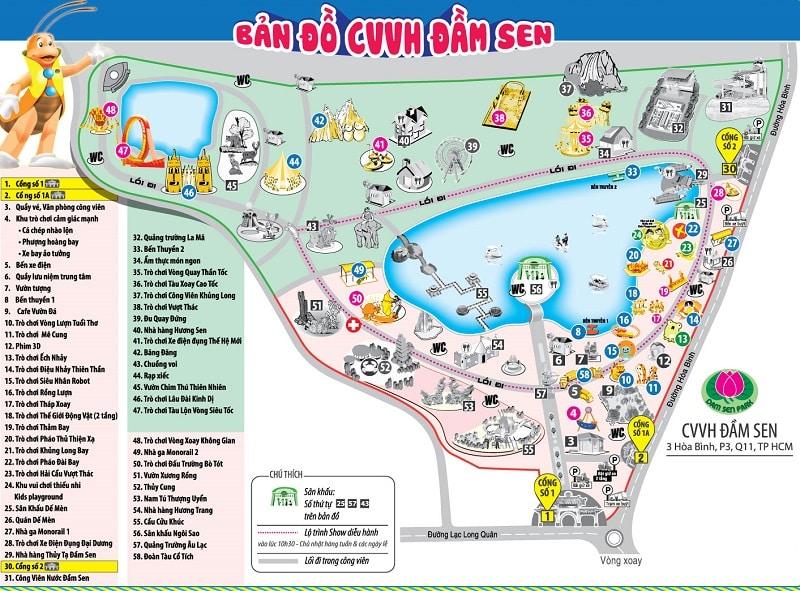 Bản đồ công viên Đầm Sen chi tiết. Bản đồ các địa điểm vui chơi ở công viên văn hóa Đầm Sen TPHCM