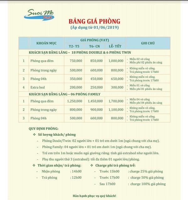 Bảng giá phòng khách sạn ở khu du lịch Suối Mơ, Đồng Nai