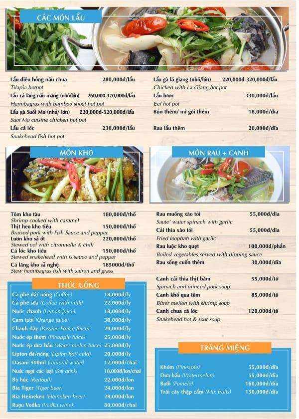 Nên ăn gì khi tới công viên Suối Mơ? Thực đơn nhà hàng ở khu du lịch Suối Mơ