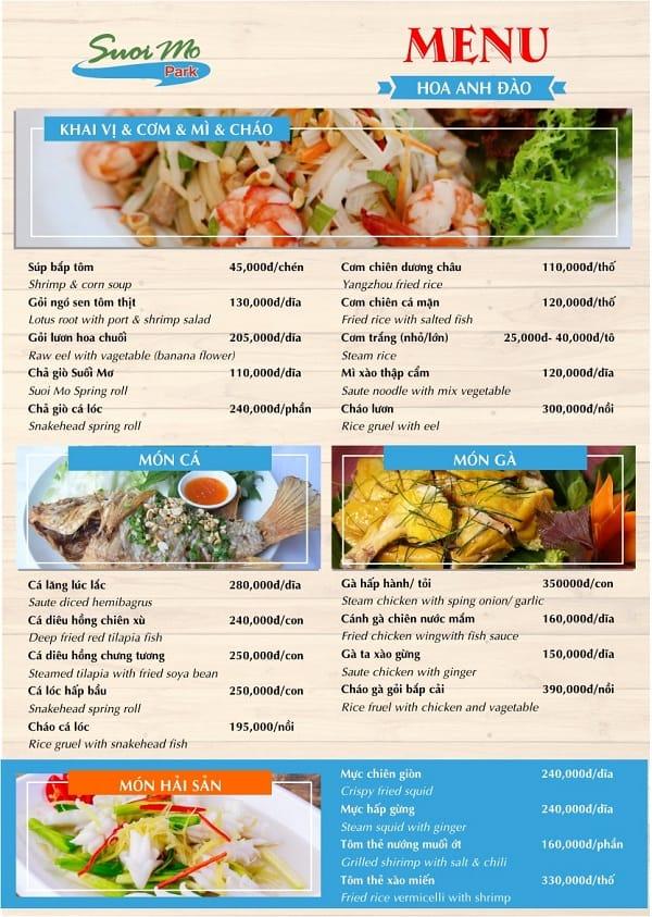 Bảng giá thực đơn nhà hàng ở khu du lịch Suối Mơ