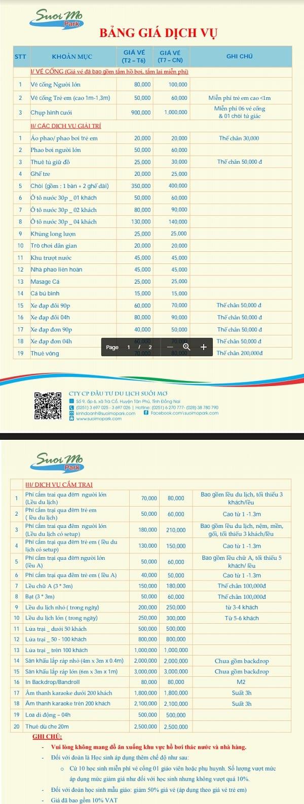 Bảng giá vé khu du lịch Suối Mơ Đồng Nai