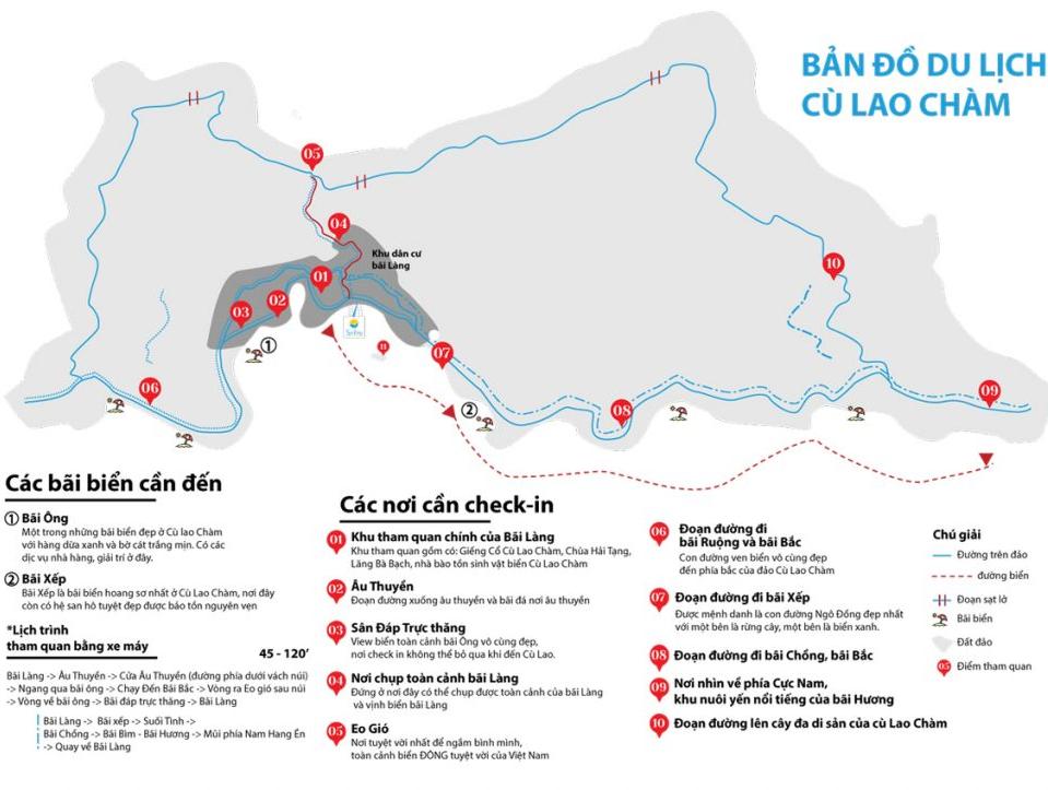 Kinh nghiệm du lịch Cù Lao Chàm, bản đồ du lịch Cù Lao Chàm