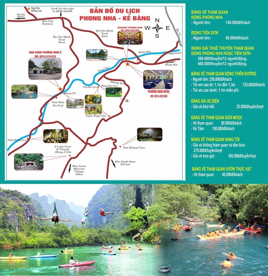 Kinh nghiệm du lịch Phong Nha Kẻ Bàng, bản đồ du lịch Phong Nha Kẻ Bàng