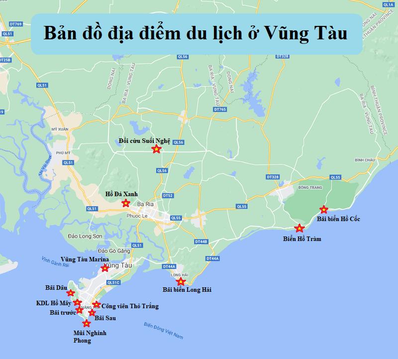 Kinh nghiệm du lịch Vũng Tàu tự túc. Bản đồ địa điểm du lịch ở Vũng Tàu