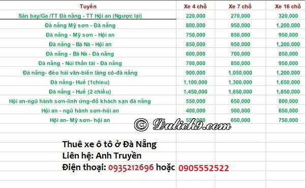 Bảng giá cho thuê xe ô tô từ Đà Nẵng đi Hội An