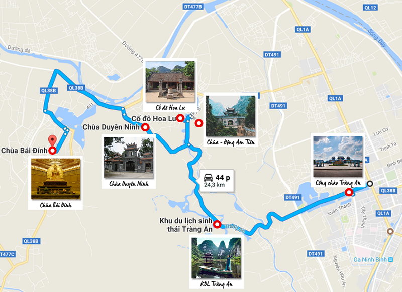 Kinh nghiệm du lịch Tràng An Bái Đinh, bản đồ du lịch Tràng An Bái Đính
