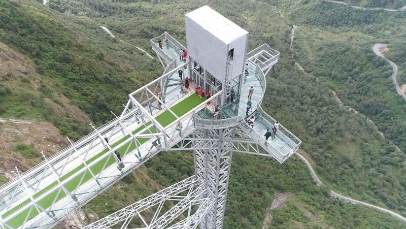 Review Cầu Kính Rồng Mây Sapa, toàn cảnh Cầu Kính Sapa từ trên cao