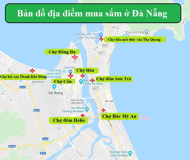 Bản đồ du lịch Đà Nẵng về địa điểm mua sắm, khu chợ