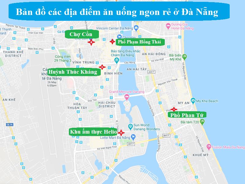 Bản đồ du lịch Đà Nẵng về những địa điểm ăn uống ngon rẻ