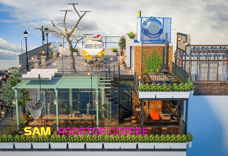 Sam Rooftop Coffee Tây Sơn, quán cafe trên cao ở Hà Nội độc đáo nhất
