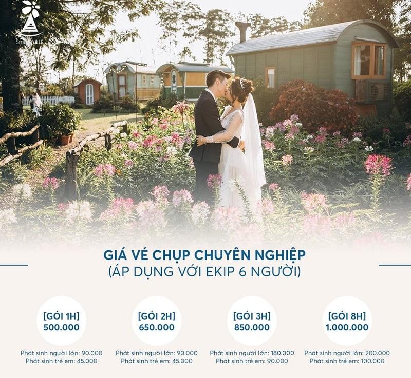 Giá vé chụp ảnh cưới ở phim trường Smiley Ville Đông Anh