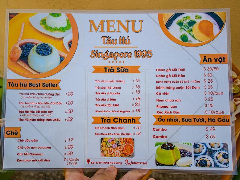 Các quán ăn ngon ở Đà Nẵng, menu của Tàu Hủ Singapore 1995